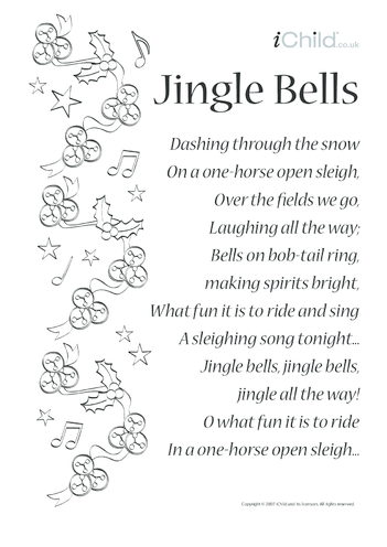 Thumbnail image for the Jingle Bells Song Sheet Lyrics activity.