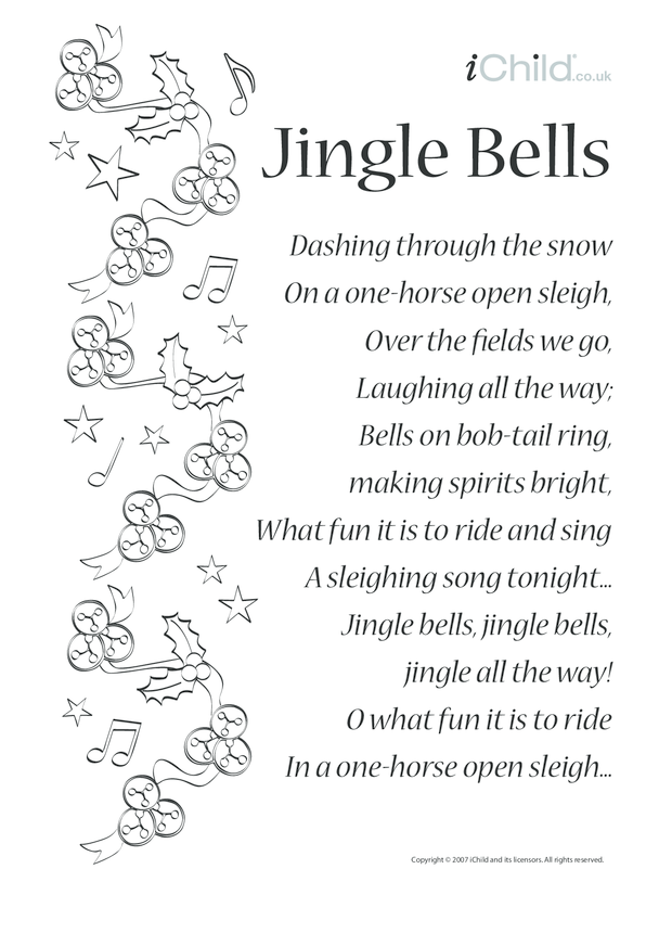 Jingle Bells Song Sheet Lyrics