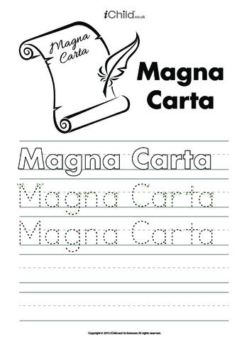 Thumbnail image for the Magna Carta Handwriting Practice Sheet activity.