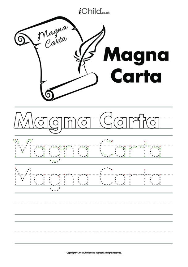 Magna Carta Handwriting Practice Sheet