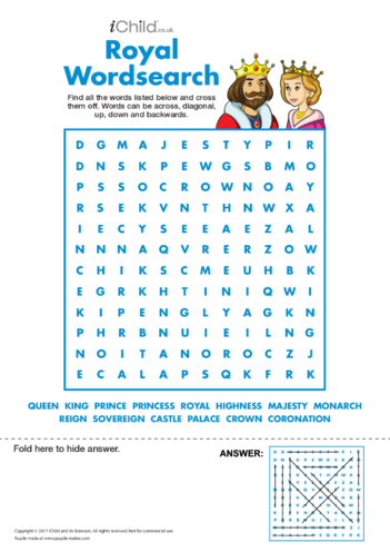 Thumbnail image for the Royal Wordsearch activity.