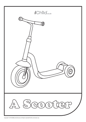 Thumbnail image for the Scooter Colouring in Picture activity.