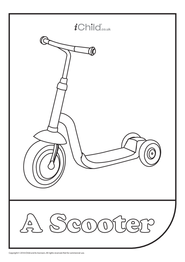 Scooter Colouring in Picture