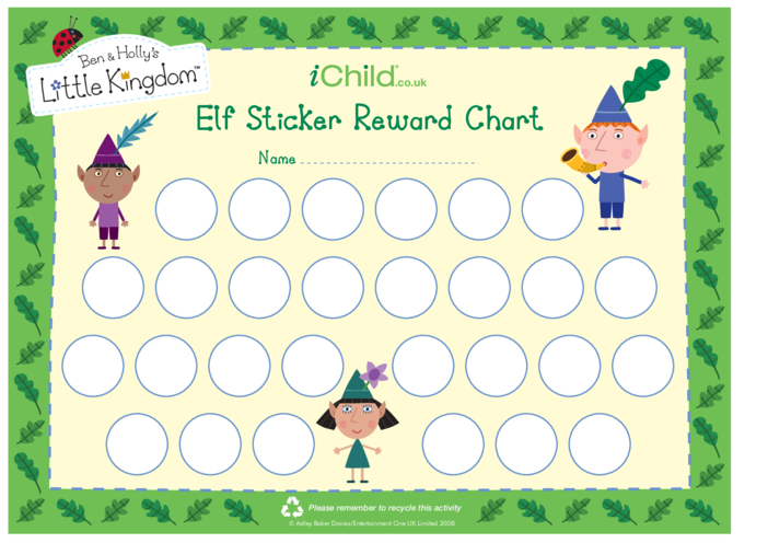 Thumbnail image for the Elf Sticker Reward Chart activity.