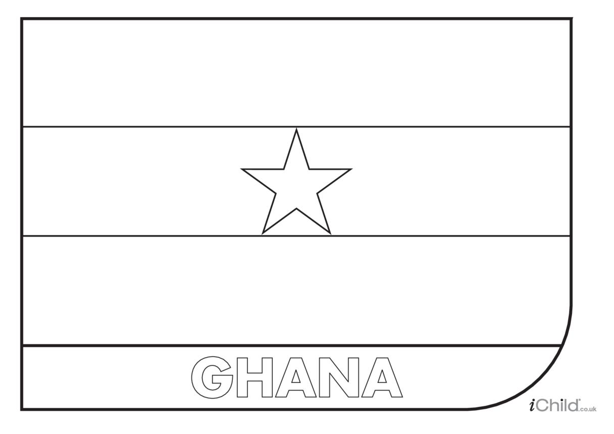 Ghana Flag Colouring in Picture (flag of Ghana)