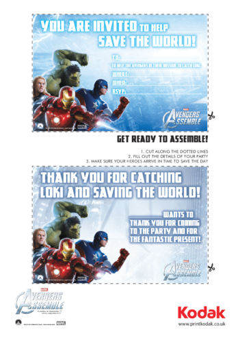 Thumbnail image for the Invitation & Thank You Card - Avengers Assemble  activity.