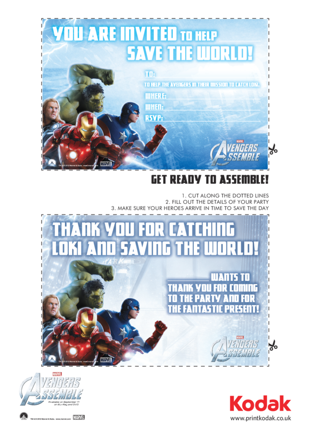 Invitation & Thank You Card - Avengers Assemble
