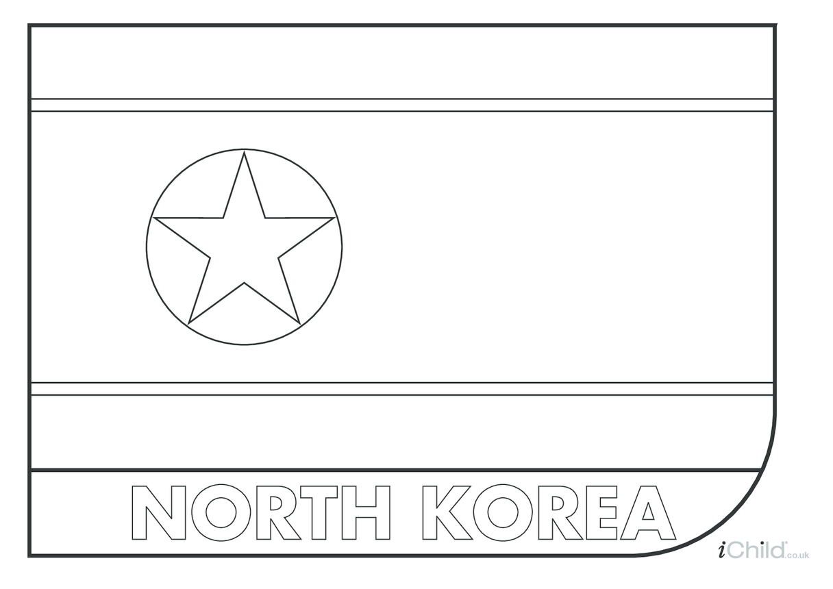 North Korean Flag Colouring in Picture