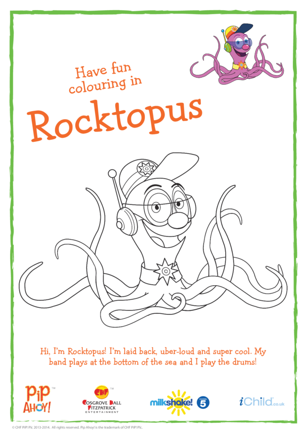 Rocktopus Colouring In Picture (Pip Ahoy!)