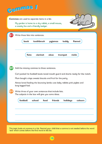 Thumbnail image for the Collins Easy Learning KS2 English, Commas activity.