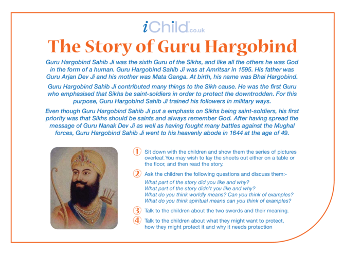 Thumbnail image for the Birthday of Guru Hargobind Religious Festival Story activity.