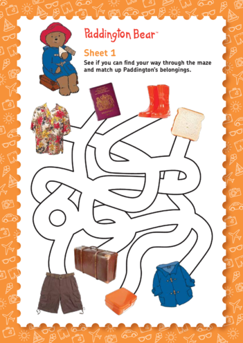 Thumbnail image for the Paddington Bear: Help Paddington In The Maze (EYFS/KS1) activity.