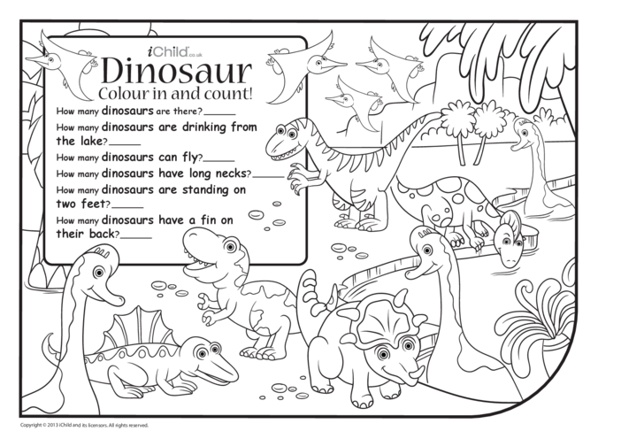 Thumbnail image for the Colour in & Count - Dinosaur activity.