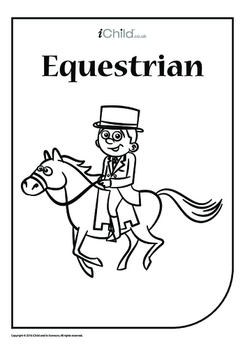 Thumbnail image for the Equestrian - Colouring in Picture activity.