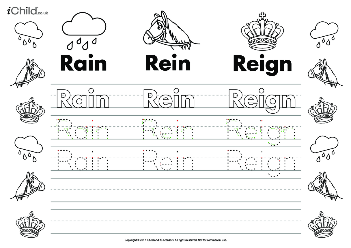 Rain, Rein, Reign Handwriting Practice Sheet