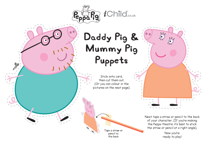 Thumbnail image for the Finger Puppets: Mummy & Daddy Pig activity.