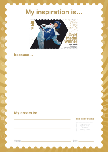 Thumbnail image for the My Inspiration Is- Jade Jones- Gold Medal Winner Stamp Template activity.