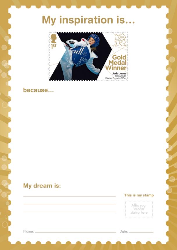 My Inspiration Is- Jade Jones- Gold Medal Winner Stamp Template