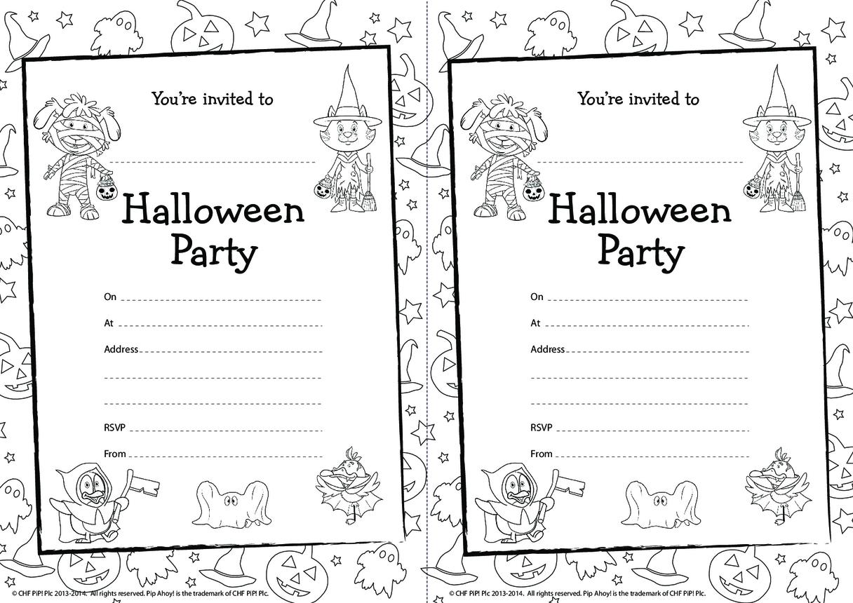 Pip Ahoy! Halloween colour in party invitations (Pip Ahoy!)