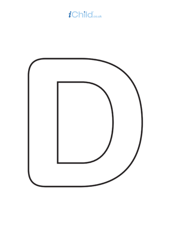 Thumbnail image for the D: Poster of the Letter 'D', black & white activity.