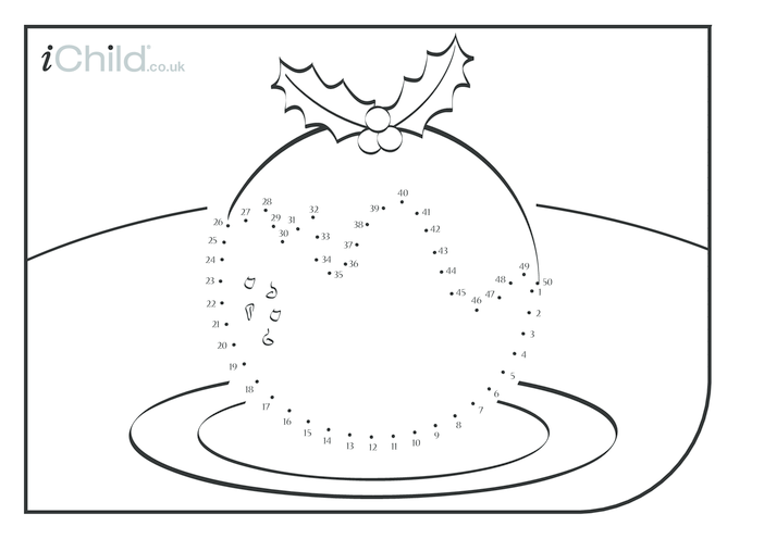 Thumbnail image for the Dot to Dot - Christmas Pudding activity.