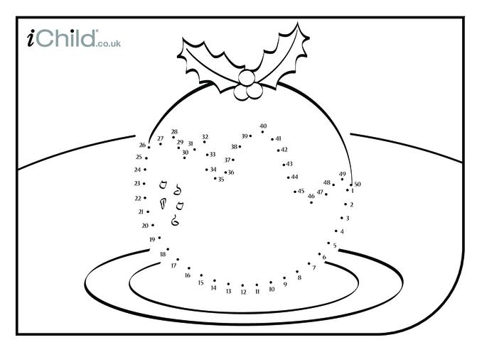Thumbnail image for the Dot to Dot - Christmas Pudding activity.