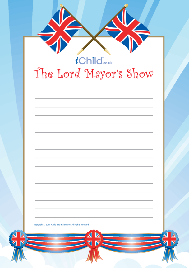 Lord Mayor's Show Lined Writing Paper Template