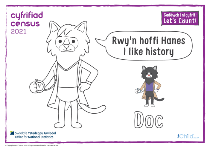 Thumbnail image for the Colour in Counter Cat Doc (Welsh/English) activity.