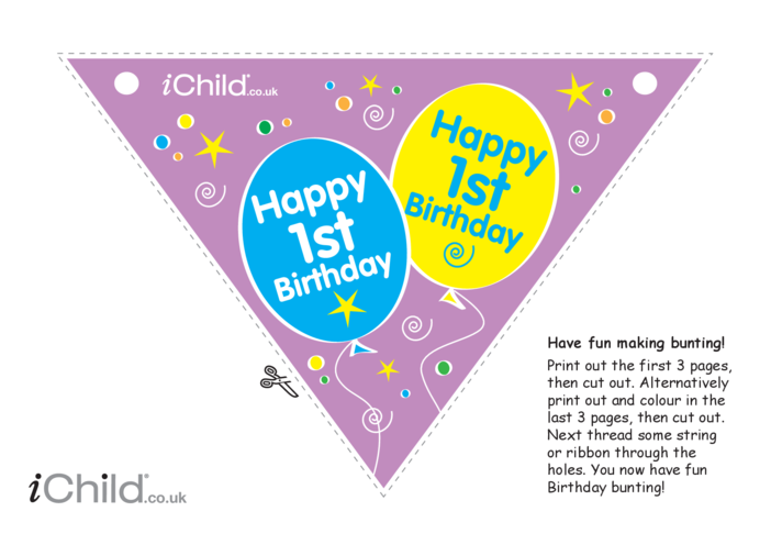Thumbnail image for the Birthday Party Bunting for 1 year old 1st birthday activity.