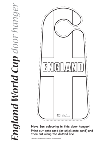 Thumbnail image for the Cricket World Cup England Flag Door Hanger activity.