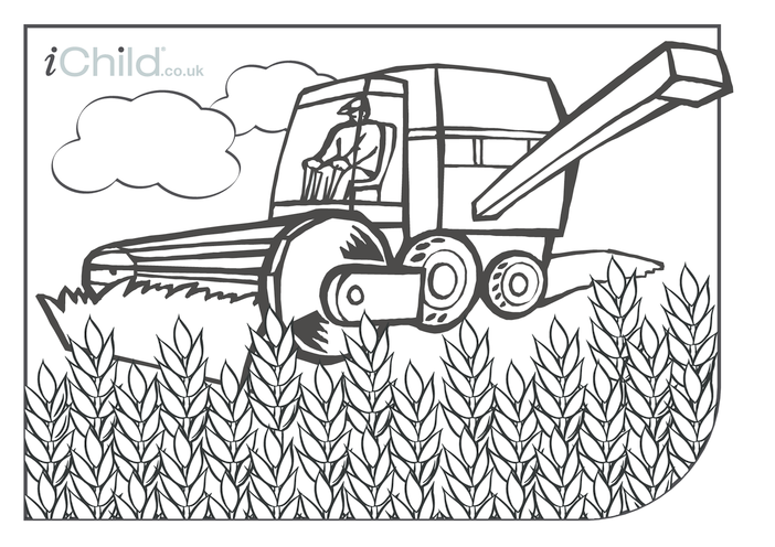 Thumbnail image for the Combine Harvester Colouring in picture activity.