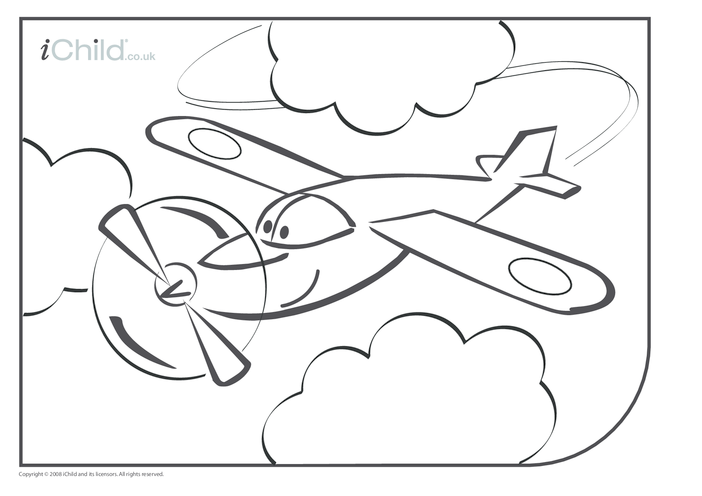 Thumbnail image for the Aeroplane Colouring in picture activity.
