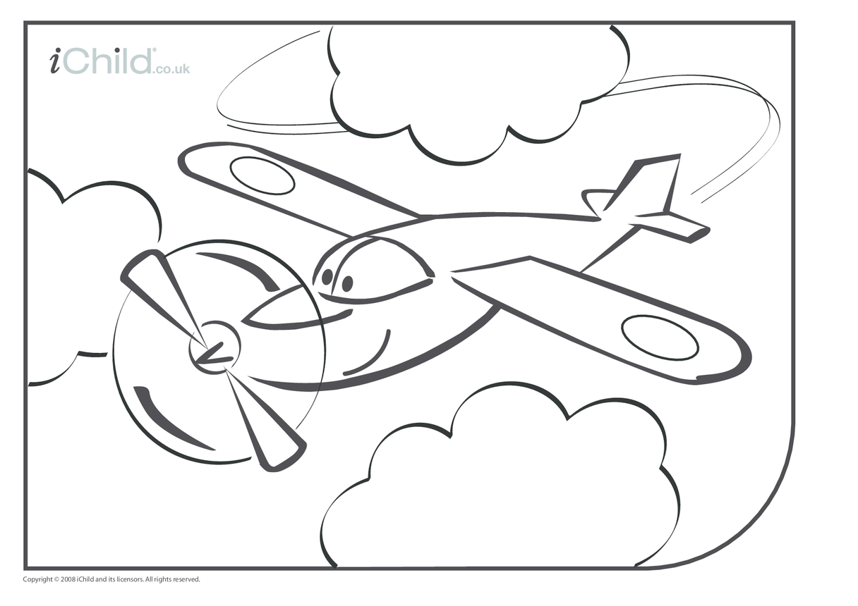 Aeroplane Colouring in picture