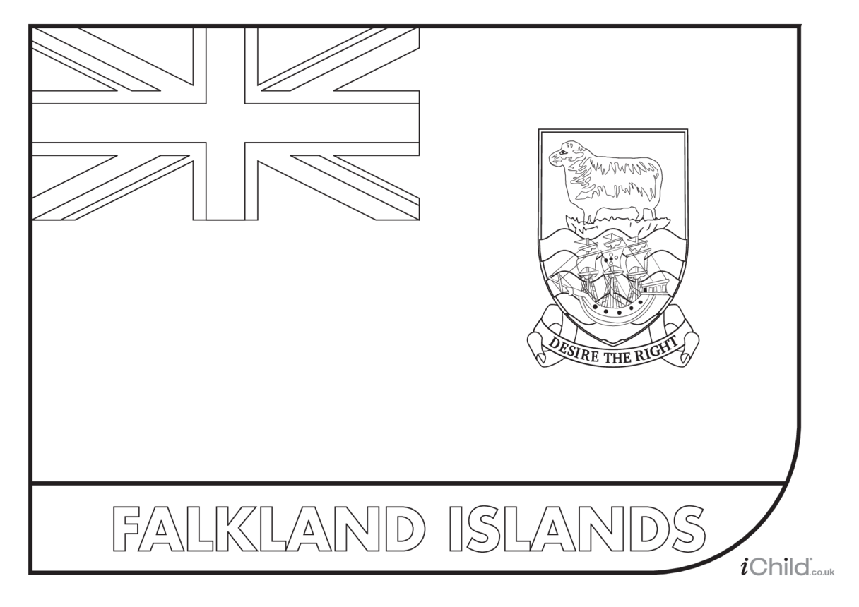 Falkand Islands Flag Colouring in Picture (flag of the Falklands Islands)