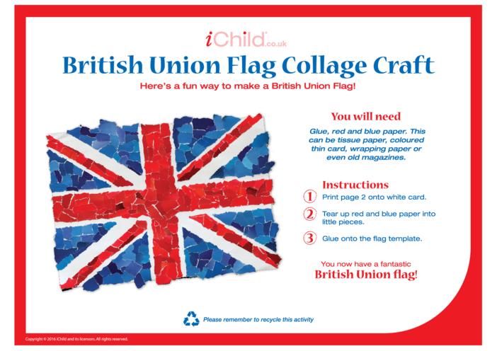 Thumbnail image for the British Union (Union Jack) Collage Craft activity.