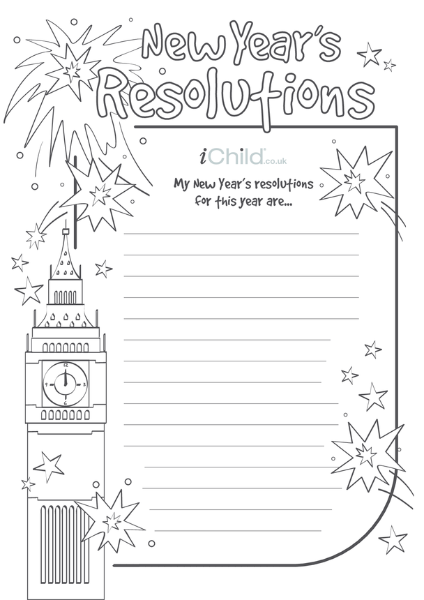 New Year Resolutions Lined Writing Paper Template