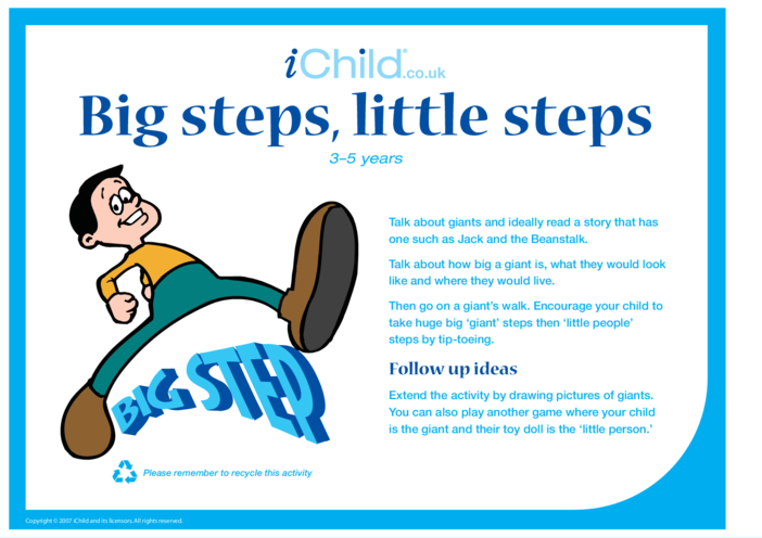 Thumbnail image for the Big Step Little Step activity.