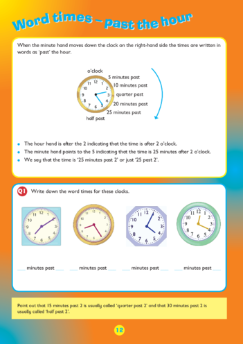 Thumbnail image for the Collins Easy Learning KS2 Telling The Time, Past the Hour activity.