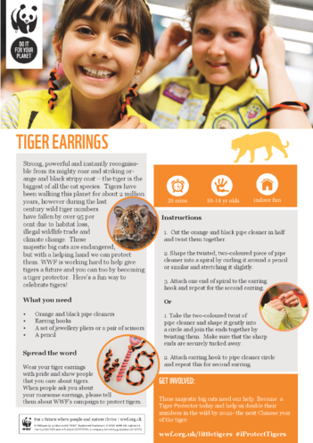 Thumbnail image for the WWF Tiger Earrings activity.