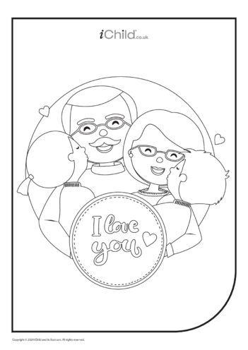 Thumbnail image for the I Love You Colouring in Picture activity.