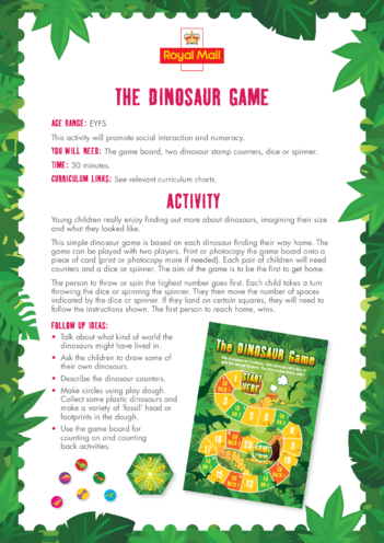 Thumbnail image for the Early Years (EYFS) 5) The Dinosaur Game Lesson Plan activity.