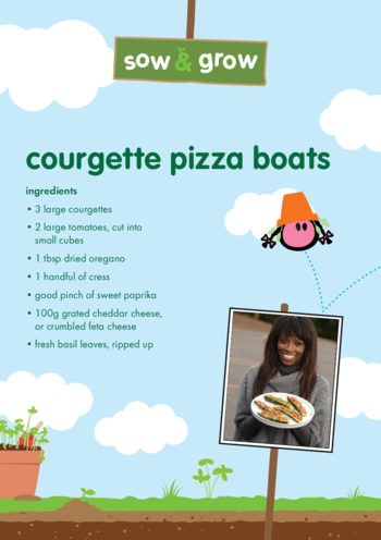 Thumbnail image for the innocent - Courgette Pizza Boats Recipe activity.