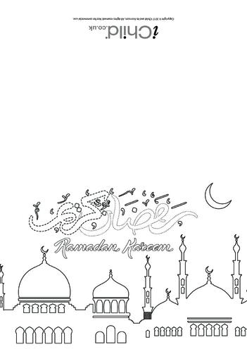 Thumbnail image for the Ramadan Kareem Card (black & white) activity.