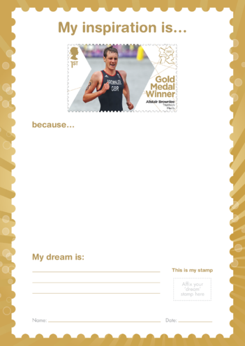 Thumbnail image for the My Inspiration Is- Alistair Brownlee- Gold Medal Winner Stamp Template activity.