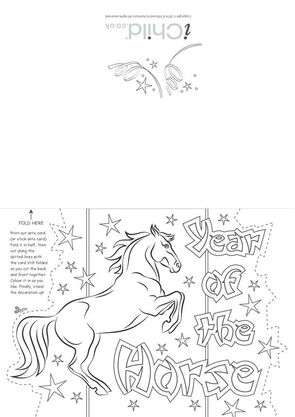 Chinese New Year Horse Craft Greetings Card
