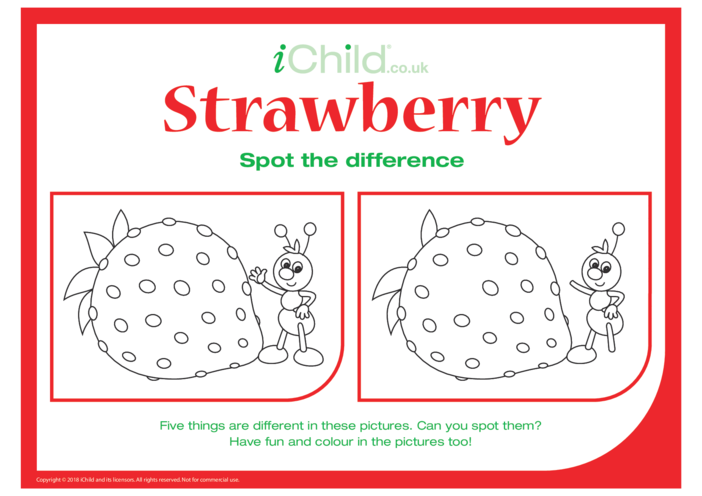 Thumbnail image for the Spot the Difference Strawberry activity.