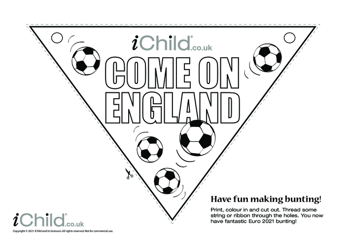 Thumbnail image for the Come on England Football Bunting (black & white) activity.