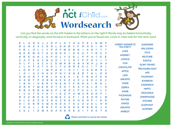 Thumbnail image for the Cheeky Monkey Wordsearch activity.