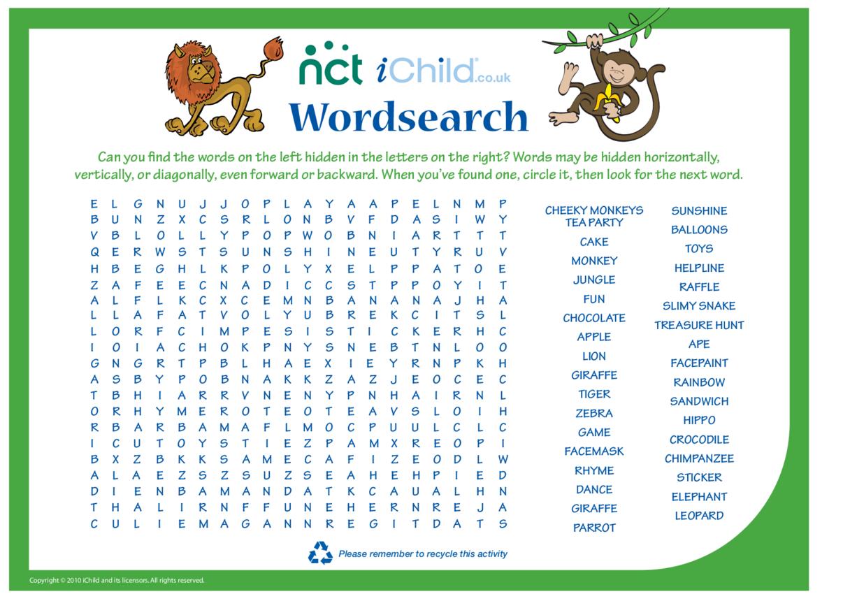 Cheeky Monkey Wordsearch