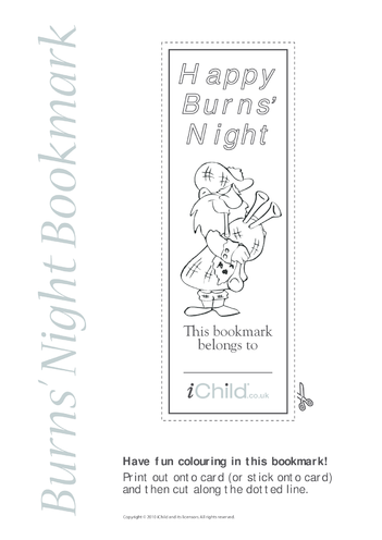 Thumbnail image for the Burns' Night Bookmark activity.